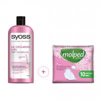 شامپو ضد ریزش موی سایوس Syoss همراه نوار بهداشتی 10 تایی مولپد