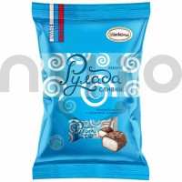 شکلات دسری با مغز خامه ای و روکش شکلات و بادام زمینی روسی بسته نیم کیلویی