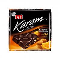شکلات تلخ اتی کارام 54% با مغز بادام و پرتقال 70 گرم