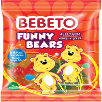 پاستیل خرسی ببتو همراه با آبمیوه 80 گرمی  Bebeto Funny Bears Jelly Gum with Real Fruit Juice 80 Gr