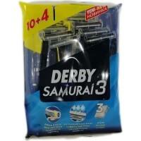 خودتراش 3 تیغ دربی مدل سامورایی3 بسته 14 عددی Derby SAMURAI3