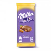 شکلات با مغز بادام 90 گرمی میلکا روسی Milka
