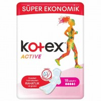 نوار بهداشتی کوتکس Kotex مدل اکتیو بلند 18 عددی