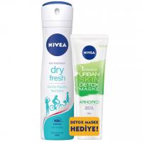 اسپری ضد تعریق زنانه نیوآ مدل Nivea Dry Fresh همراه ماسک صورت دتوکس