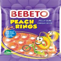 پاستیل شکری حلقه های هلو ببتو همراه با آبمیوه 80 گرمی  Bebeto Peach Rings